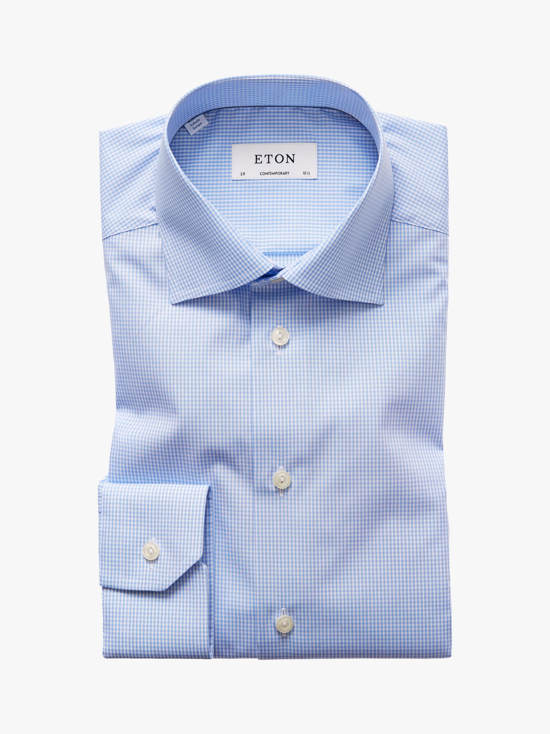 Eton Eton Micro Gingham Check Contemporary Fit Shirt, Blue