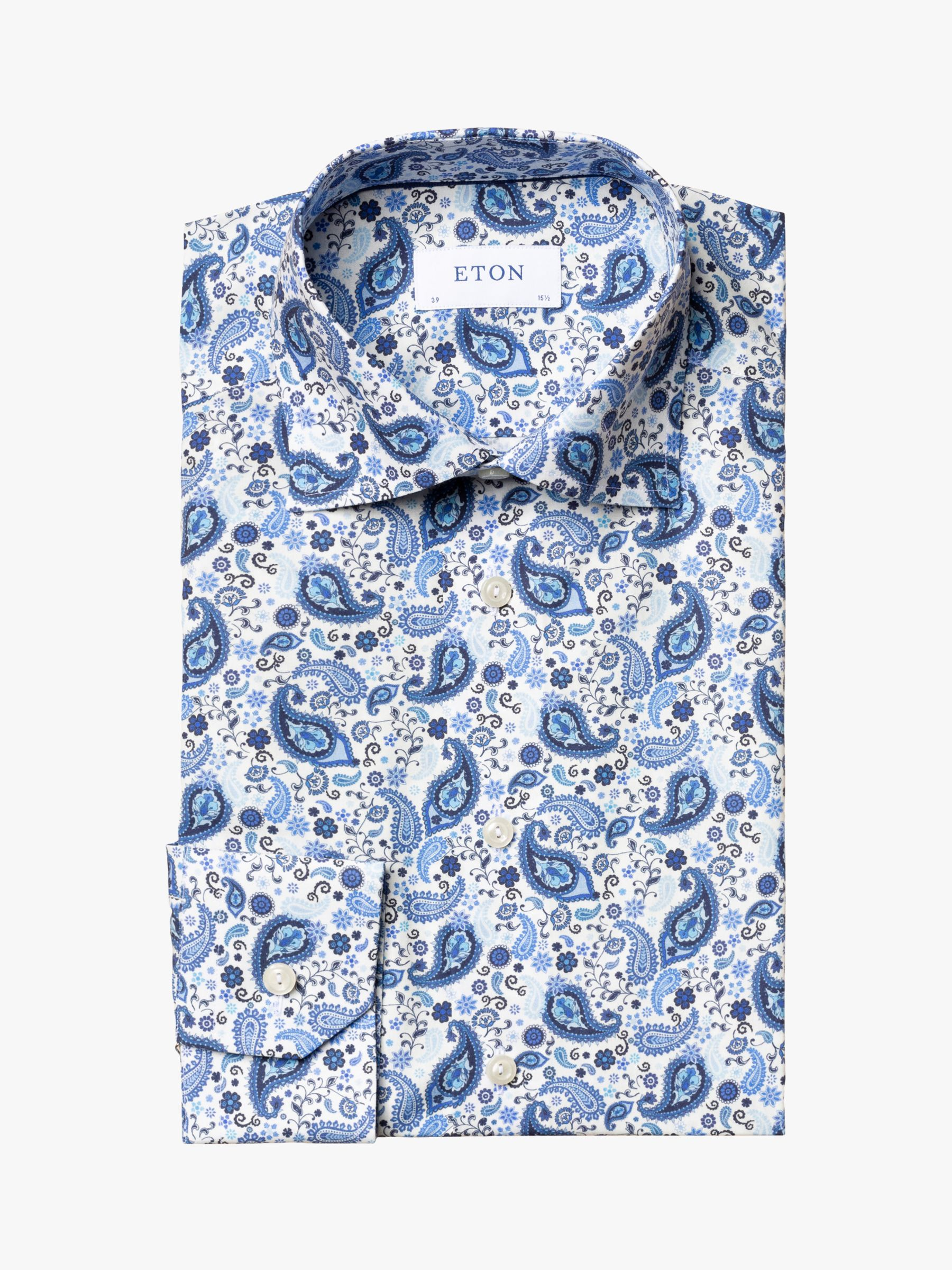 Eton Eton Poplin Paisley Print Contemporary Fit Shirt, Blue