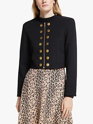 Somerset by Alice Temperley Button Detail Crop Jacket, Black