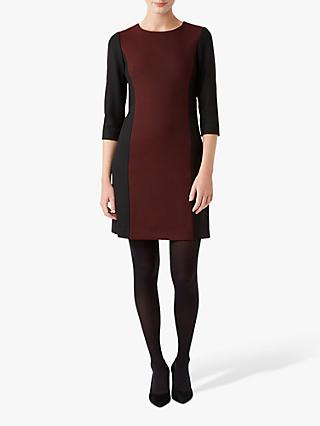 Hobbs Gracie Dress, Black/Bordeaux
