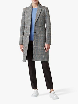 Hobbs Tilda Check Wool Coat, Grey