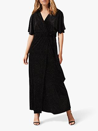 Phase Eight Robynne Sparkle Wrap Dress, Black/Bronze