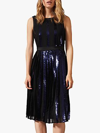 Phase Eight Alani Pleated Sequin Dress, Black/Navy