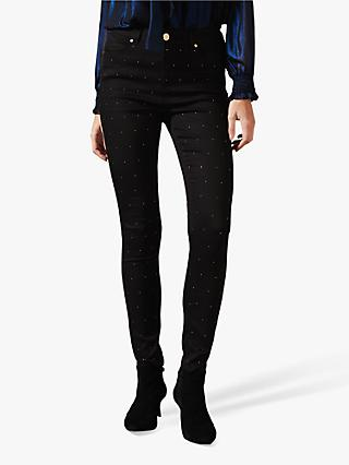 Phase Eight Lotta Stud Embellished Jeans, Black