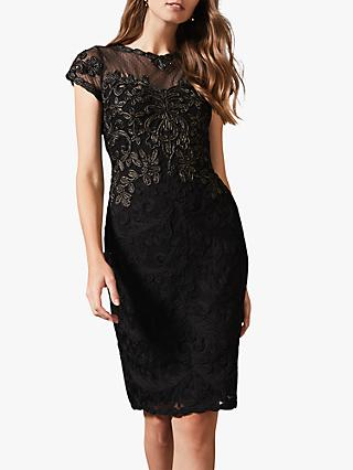 Phase Eight Zandra Tapework Lace Tailored Dress, Black