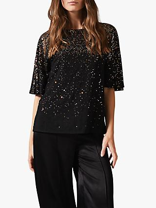 Phase Eight Graduated Sequin Blouse, Black