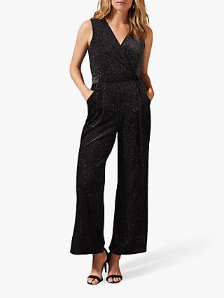 Phase Eight Vivi Glitter Stripe Jumpsuit, Black/Multi