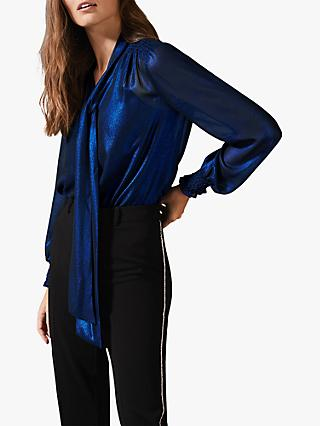 Phase Eight Khalia Metallic Tie Neck Blouse, Cobalt