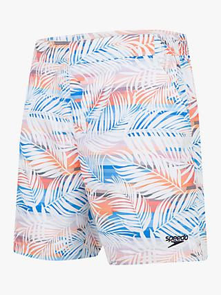 "Speedo Vintage Paradise Print 16"" Swim Shorts, Palm White/Mango"