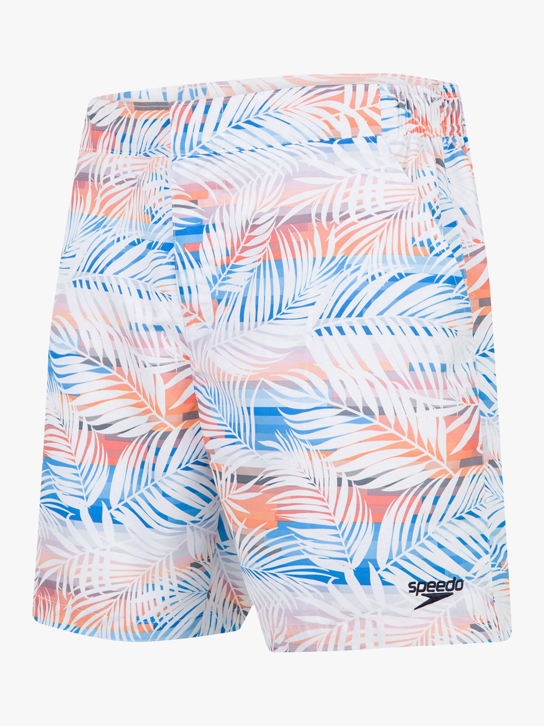 Speedo Speedo Vintage Paradise Print 16 Swim Shorts, Palm White/Mango