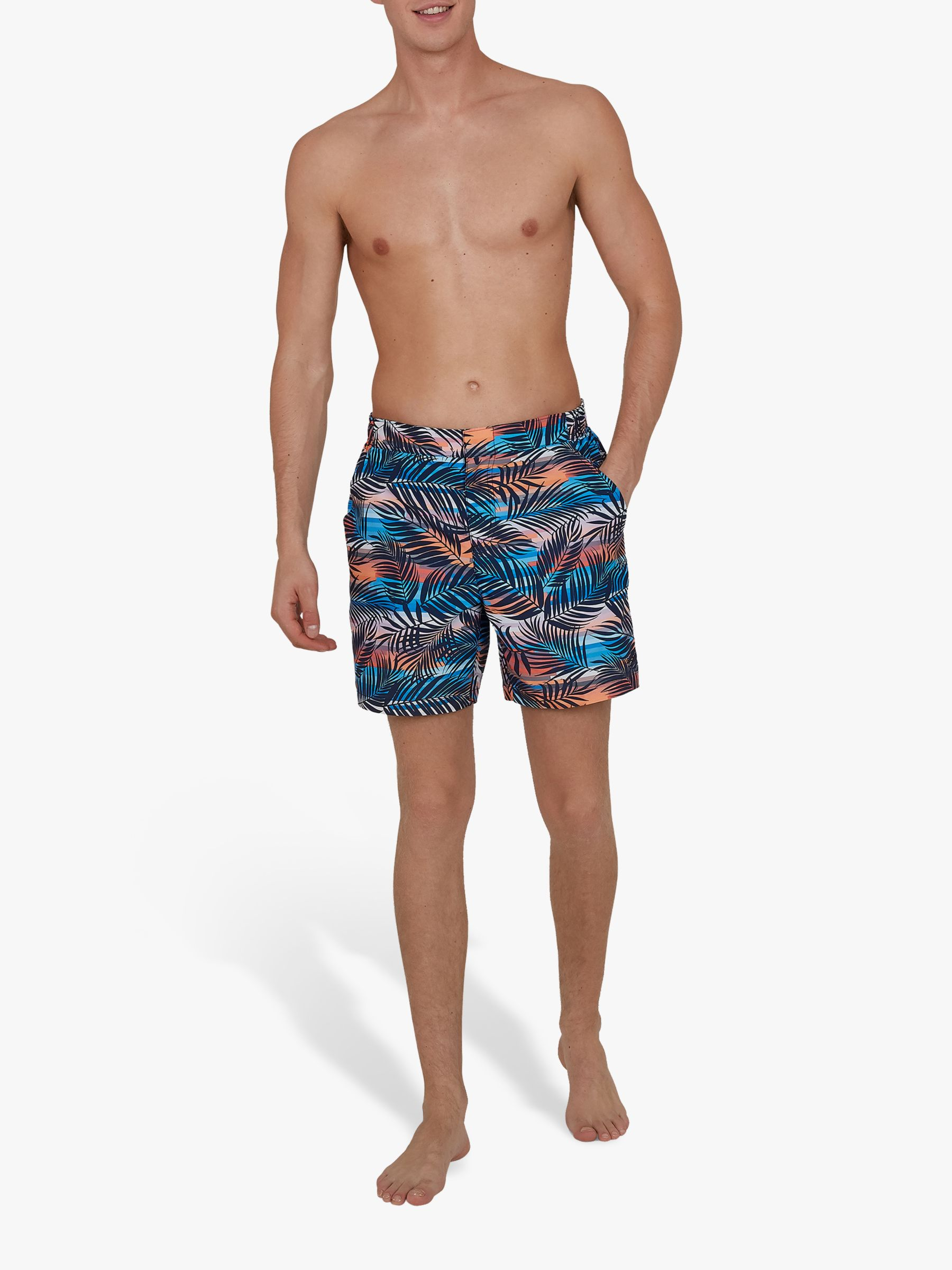 Speedo Speedo Vintage Paradise Print 16 Swim Shorts, Palm Tree Navy/Mango