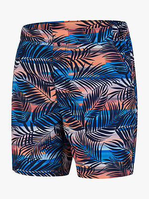 "Buy Speedo Vintage Paradise Print 16"" Swim Shorts, Palm Tree Navy/Mango, S Online at johnlewis.com"