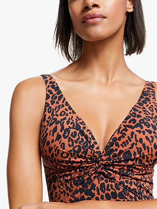 Buy John Lewis & Partners Yala Leopard Print Twist Front Control Swimsuit, Flame, 10 Online at johnlewis.com