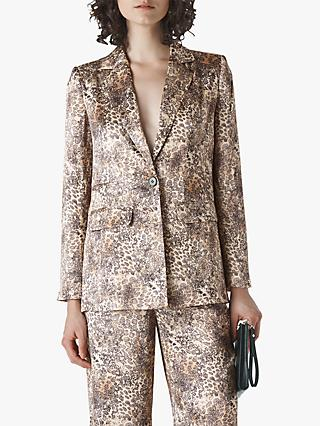 Whistles Big Cat Print Satin Blazer, Neutral
