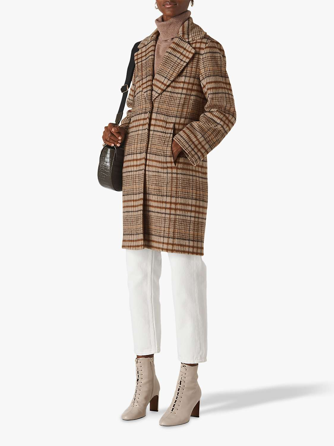 Whistles Mara Check Cocoon Coat, Multi by John Lewis