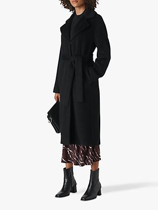 Whistles Darcey Drawn Belted Coat, Black