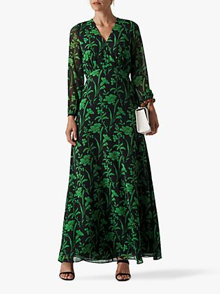 Whistles Valerie Woodland Floral Maxi Dress, Green/Multi
