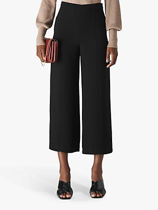 Whistles Cord Flat Front Trousers, Black