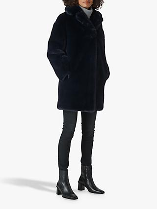 Whistles Frankie Faux Fur Cocoon Coat, Navy