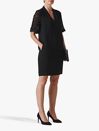 Whistles Lina Dobby Sleeve Dress, Black