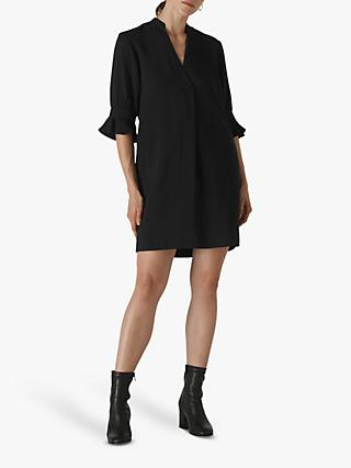 Whistles Sonia Frill Cuff Dress, Black