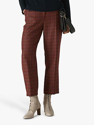 Whistles Kate Classic Check Trousers, Red/Multi