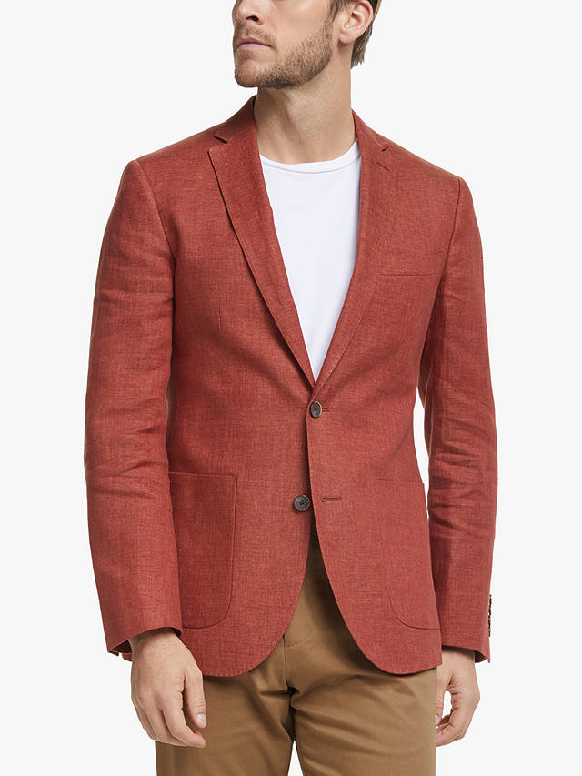 Buy John Lewis & Partners Linen Hopsack Blazer, Brick Red, 38R Online at johnlewis.com