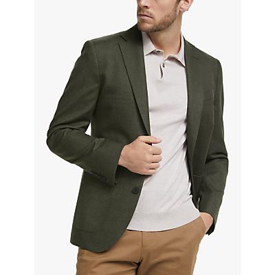 John Lewis & Partners Birdseye Wool Cotton Blazer, Khaki