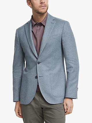 John Lewis & Partners Wool Cotton Cashmere Herringbone Blazer, Light Blue