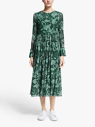 Numph Nuaada Leaf Print Long Sleeve Midi Dress, Pondarosa