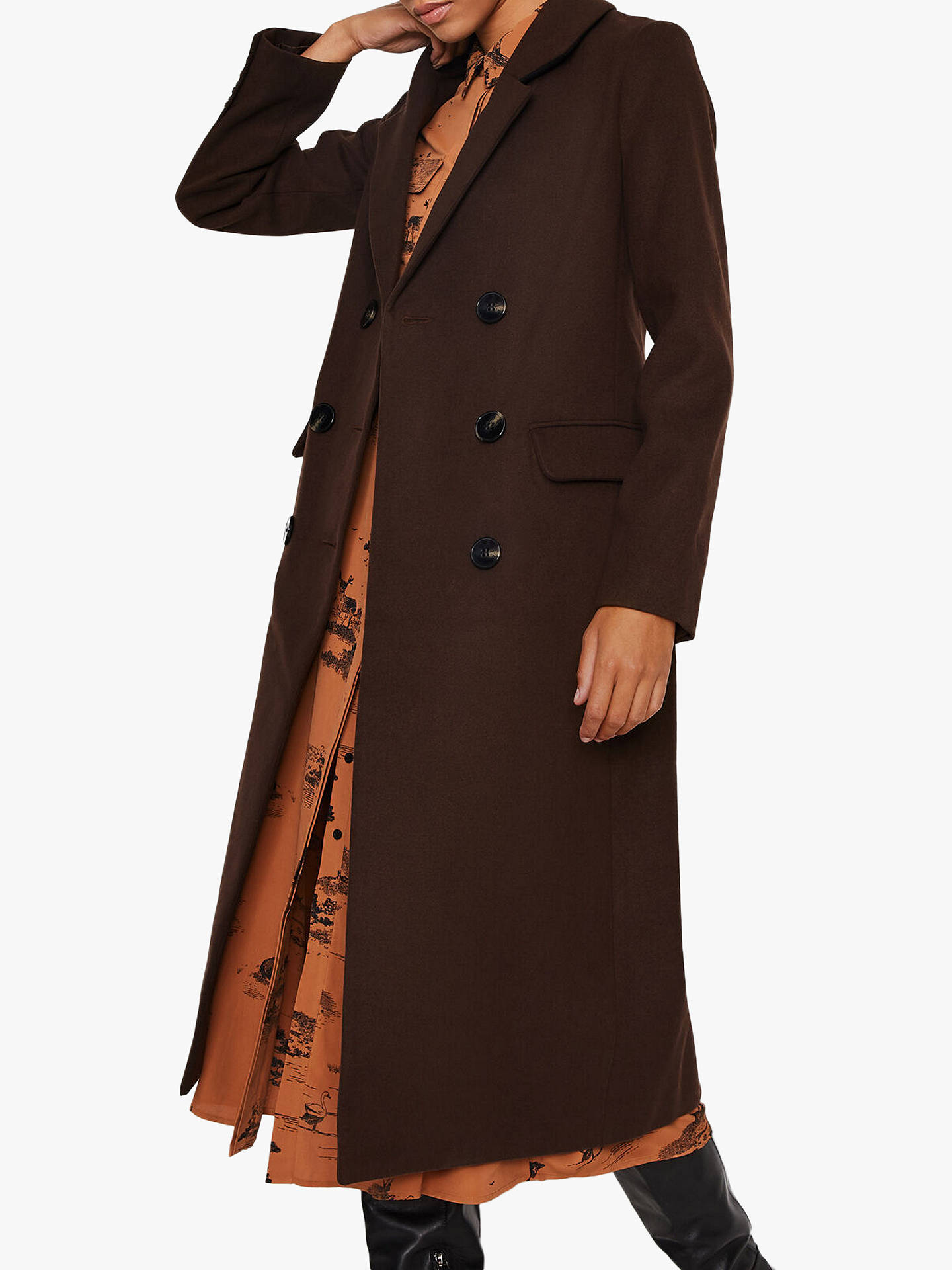 warehouse-long-double-breasted-coat,-chocolate by warehouse
