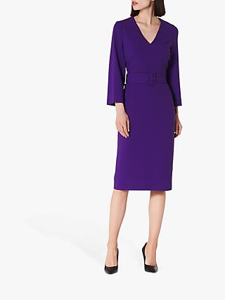 L.K.Bennett Esther V-Neck Belted Shift Dress, Ultra Violet