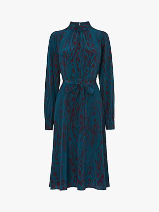 L.K.Bennett Dora Silk Tie Waist Dress, Blue