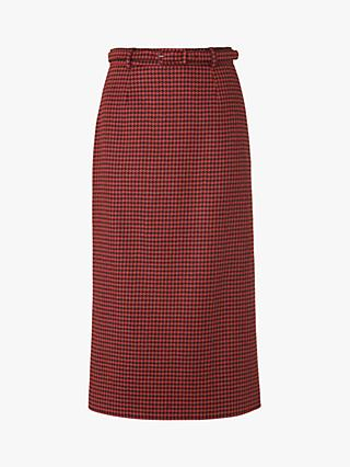 L.K.Bennett Ingrid Houndstooth Wool Blend Pencil Skirt, Orange