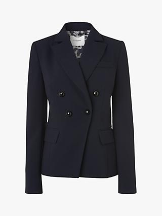 L.K.Bennett Pearl Double Breasted Blazer, Midnight Blue