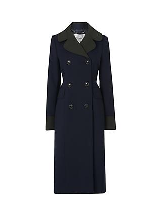 L.K.Bennett Penny Long Contrast Collar Coat, Midnight