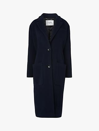 L.K.Bennett Finsbury Double Velour Single Breasted Coat, Midnight