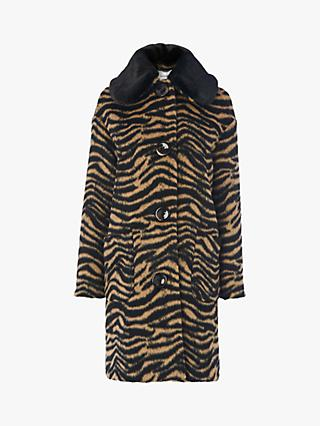 L.K.Bennett Aster Wool Blend Leopard Print Cocoon Coat, Brown