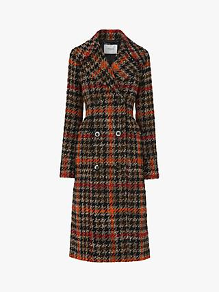 L.K.Bennett Syble Check Double Breasted Coat, Orange