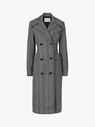 L.K.Bennett Aurelia Herringbone Trench Coat, Grey