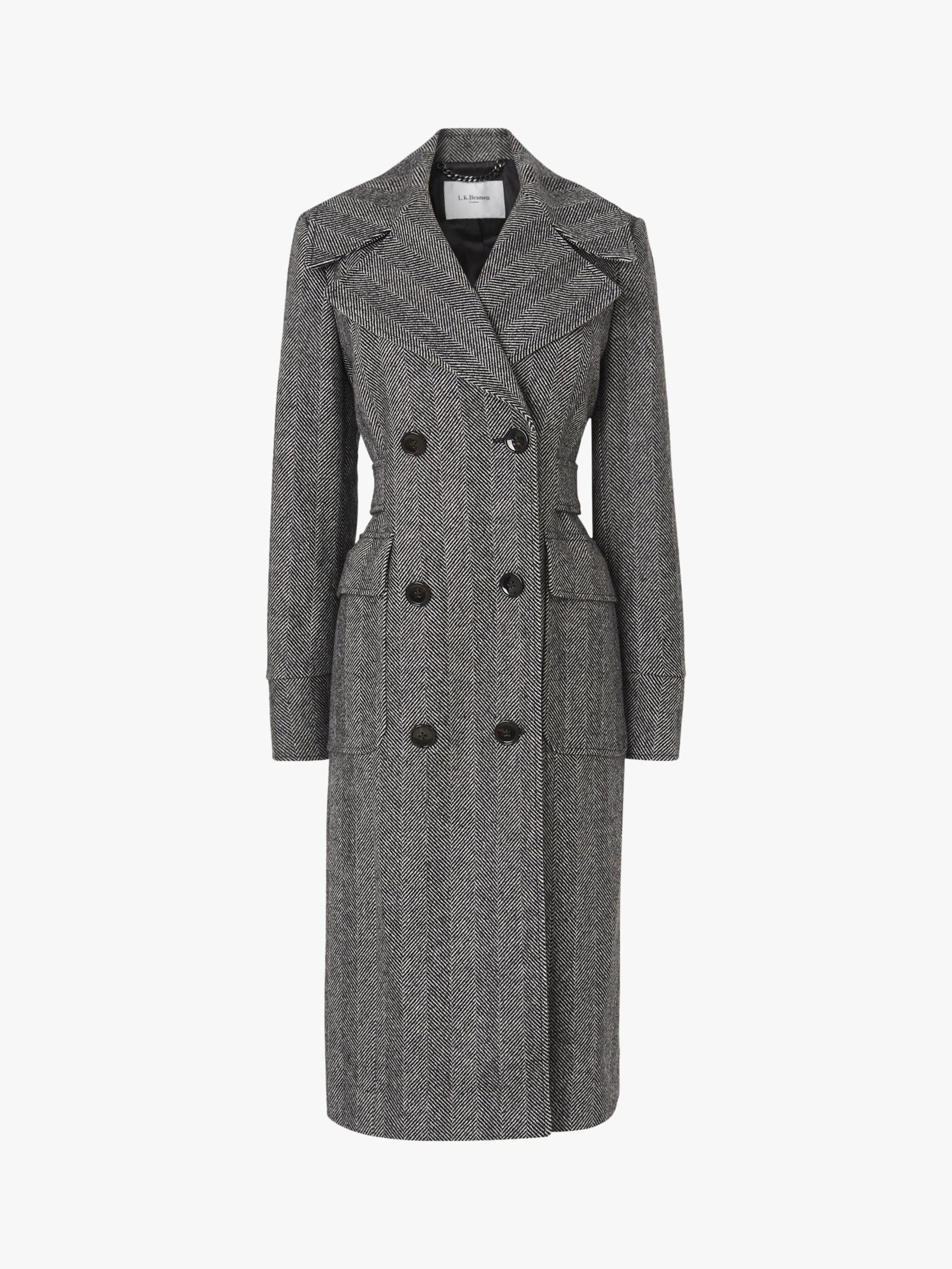 L.K.Bennett L.K.Bennett Aurelia Herringbone Trench Coat, Grey