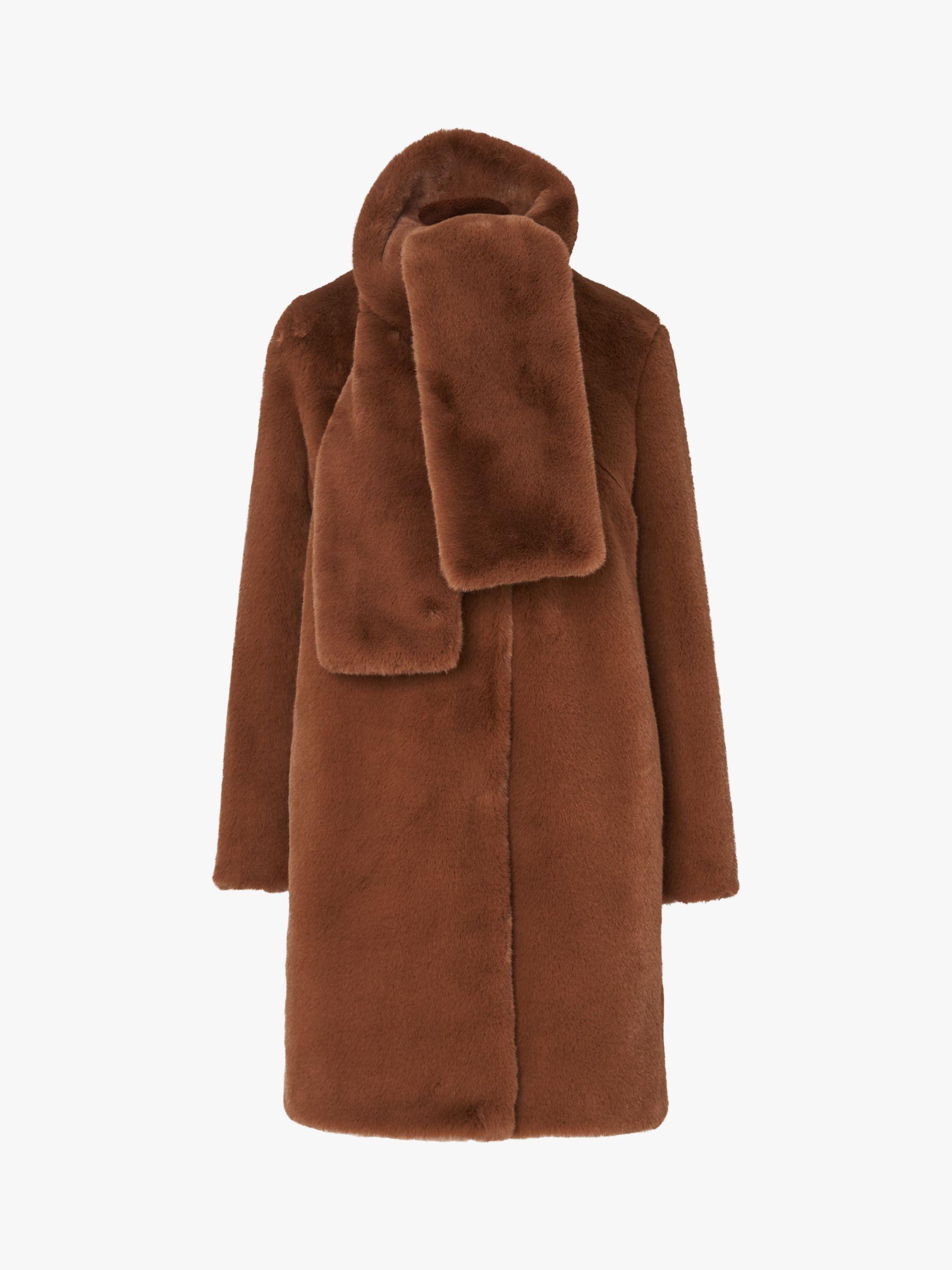 L.K.Bennett L.K.Bennett Aspen Faux Fur Coat, Light Brown
