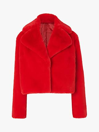 L.K.Bennett Ruby Faux Fur Short Coat, Red