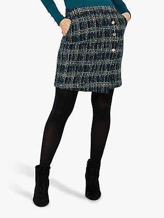 Monsoon Talia Check Mini Skirt, Teal