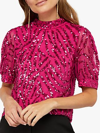 Monsoon Gemma Sequin Top, Pink