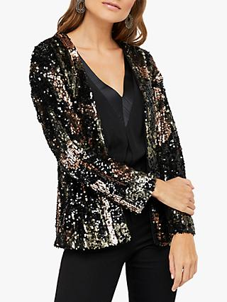 Monsoon Carmen Sequin Embellished Camo Jacket, Black