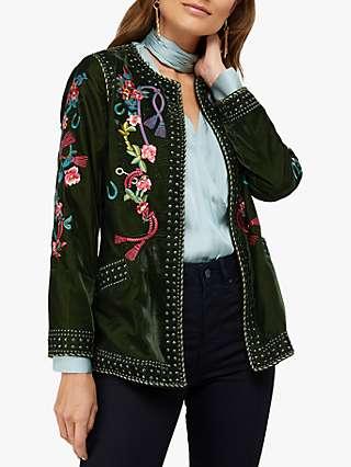 Monsoon Callie Floral Embroidered Velvet Stud Jacket, Olive