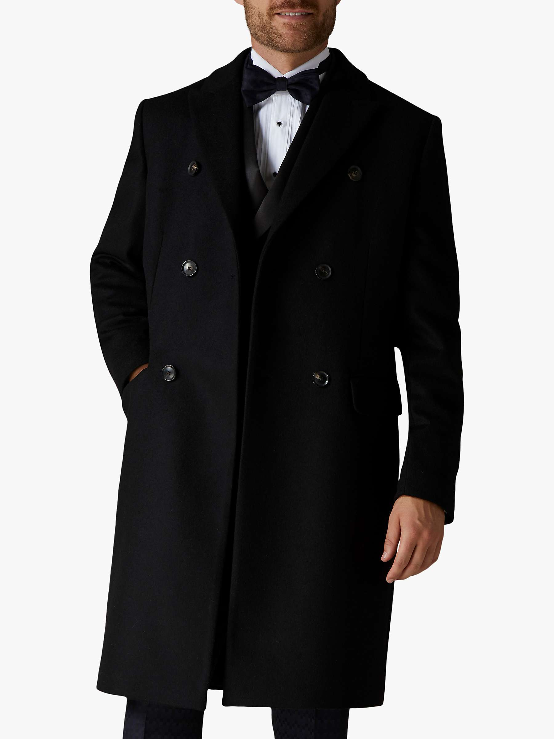 Mens Wool Black Double Breasted Coat