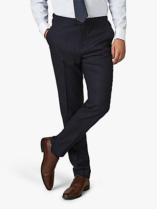 Jaeger Wool Pinstripe Regular Fit Suit Trousers, Navy