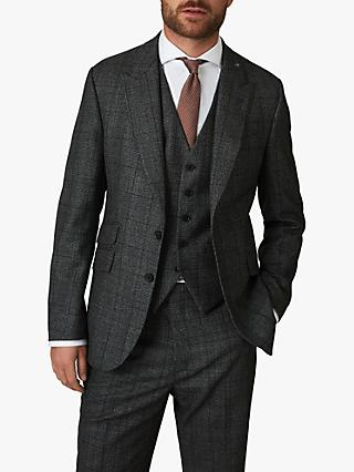 Jaeger Wool Mouline Check Regular Fit Suit Jacket, Charcoal